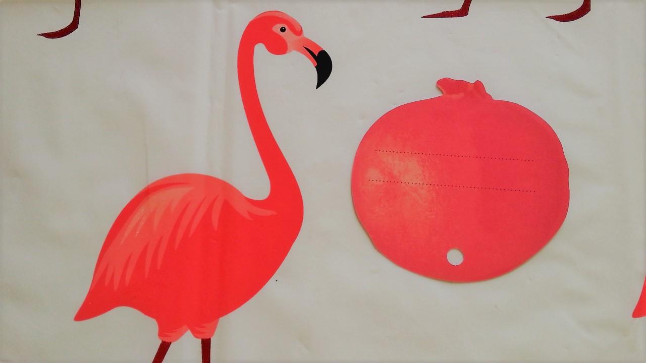 Flamingo mit Apfel kann putzen